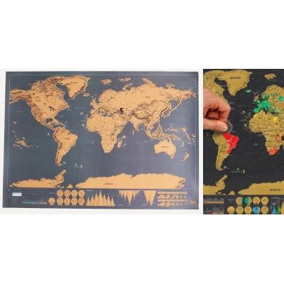 Stieracie mapa sveta DELUXE (nástenná mapa - veľká)